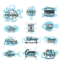 fishing adventure fish catch club lettering vector image