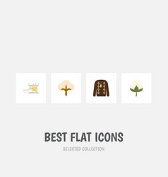 Flat icon cotton set of pullover fluffy cotton vector