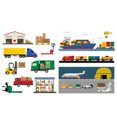 freight transport set transportation and vector image