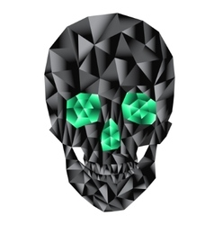Geometric skull with emerald eyes vector