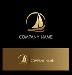 Golden yacht boat sail logo vector