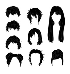 Hairstyle Man and Woman Black vector image