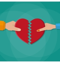 hand a man and woman tearing apart heart vector image
