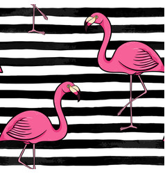 Hand drawn pink flamingo silhouette on a vector