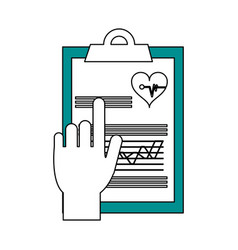 hand pointing medical history on clipboard vector image