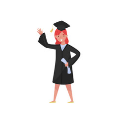 happy female graduate smiling graduation girl vector image