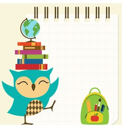 Happy little owl - back to school vector image