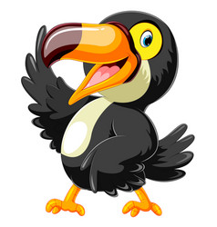 happy toucan cartoon with presentation vector image