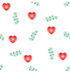 heart red and twig seamless pattern fashion vector image