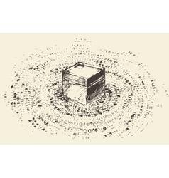 Holy Kaaba Mecca Saudi Arabia muslim drawn vector image