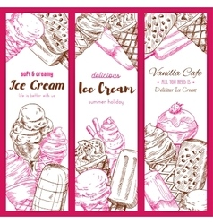 Ice cream frozen desserts banners sketch vector image