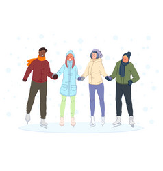 Iceskating with friends boys girls winter vector
