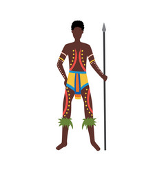Indigenous man from australia with aboriginal vector