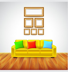 Interior room with yellow sofa and colorful vector image