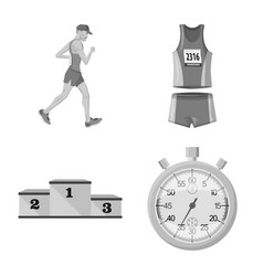 Isolated object success and marathon sign set vector