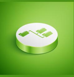 Isometric folder tree icon isolated on green vector