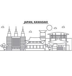 Japan kawasaki architecture line skyline vector