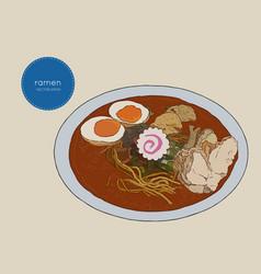 Japanese cuisine soup ramen sketch vector