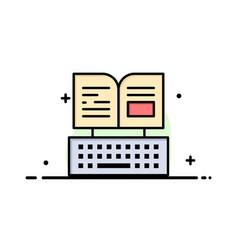 Key keyboard book facebook business flat line vector