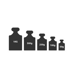 Kg weight mass black simple flat icon set vector