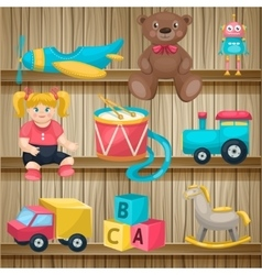 Kids Toys On Shelves Conposition vector image