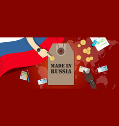 made in russia price tag badge export vector image