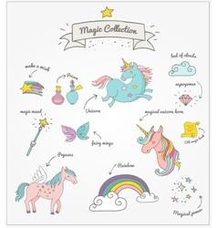 Magic hand drawn set - unicorn rainbow and fairy vector