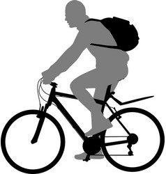 Man riding bicycle silhouette vector