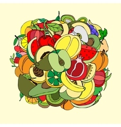 many fruits vector image