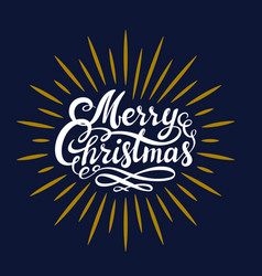 merry christmas hand lettering white and gold on vector image
