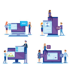 mini people with electronic devices vector image