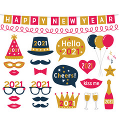 New year 2021 photo booth props set vector