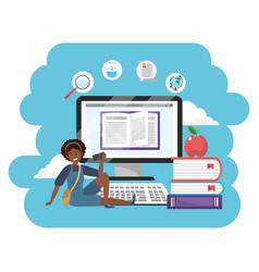 online education millennial student splash frame vector image