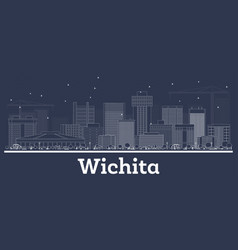 Outline wichita kansas city skyline with white vector