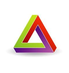 Pen rose triangle- Tricolor 3d Business logo vector