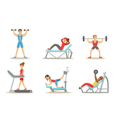 people exercising in gym with equipment vector image