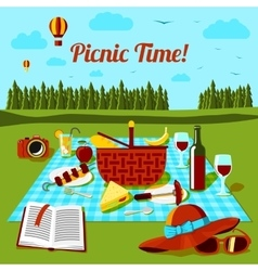 Picnic time poster with different food and drink vector