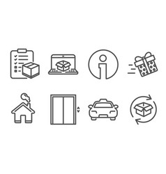 present delivery lift and online delivery icons vector image