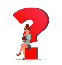 Question mark business woman thinking vector