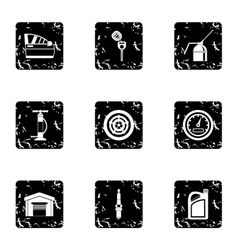 Renovation for machine icons set grunge style vector