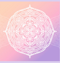 round white mandala on gradient pink isolated vector image