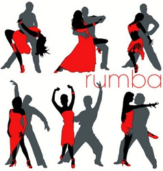Rumba dancers set vector
