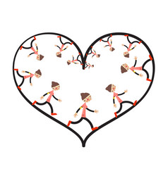 running woman inside heart shape vector image