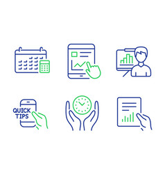 Safe time internet report and education icons set vector