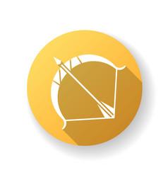 sagittarius sign yellow flat design long vector image
