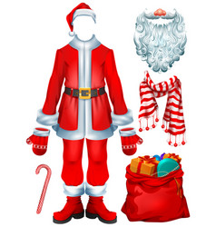 santa claus costume dress and christmas vector image
