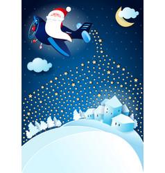 Santa claus distributes stars christmas tale vector