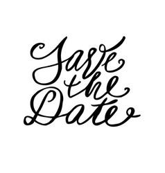 save date postcard wedding phrase ink modern vector image