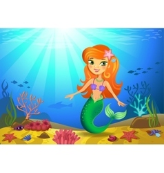 Seabed with mermaid and corals vector image