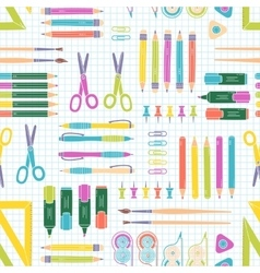 Seamless stationery pattern school and vector